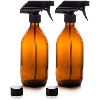 Depory - Botellas de spray de cristal ámbar con bomba de gatillo/2 tapas Reutilizable, respetuoso con el medio ambiente para orgánico/limpieza/aceite esencial/planta/pelo/mascota (2 x 500 ml): Amazon.es: Hogar