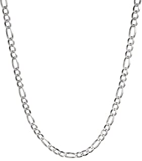 Solid 925 Sterling Silver 4mm Italian Figaro Link Chain Necklace 16