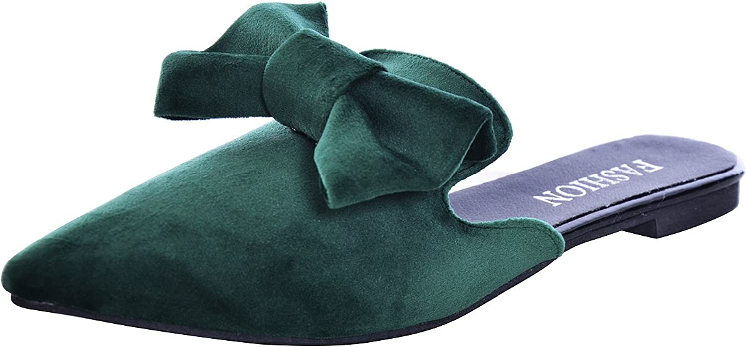 Slduv7 Crushed Velvet Cute Bowtie Mules for Woman Fashion Pointed Toe Flat Casual Emerald Green Mules