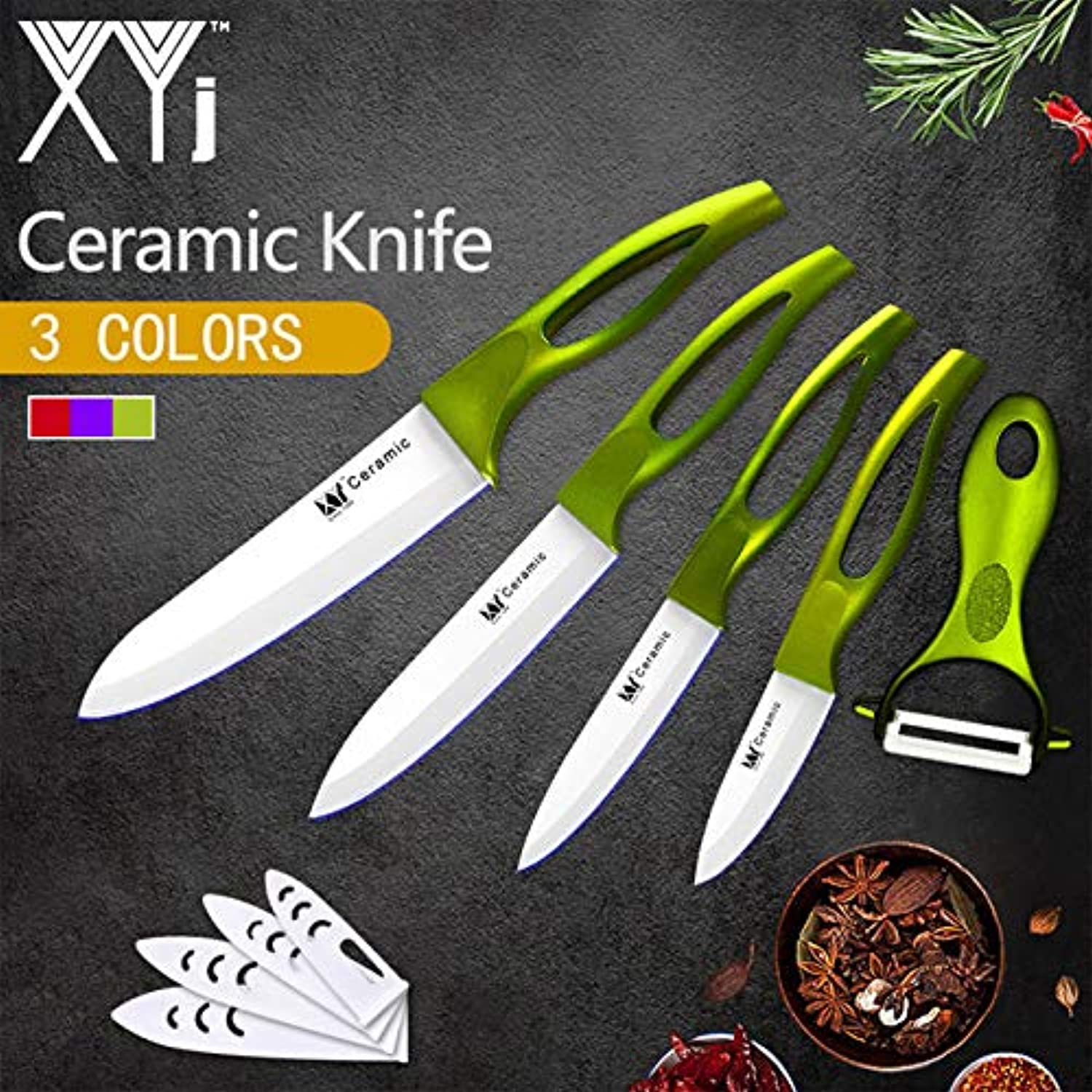 XYj 5 Piece Ceramic Knives Flower Pattern Blade 3 4 5 6 inch ABS+TPR Handle Kitchen Knives Cooking Tool Free Cover and Pleeler   Green H White Blade