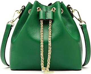 Portable Simple and Versatile Compact Bills Shoulder Slung Leather Handbags (Color : Green)