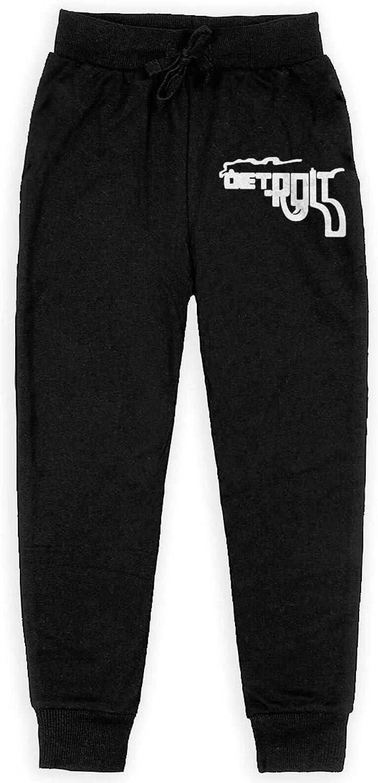Jingbobaihuodian Detroit Smoking Gun Pictogram Boy's Sweatpants Running Pants Comfortable Jogger Pant