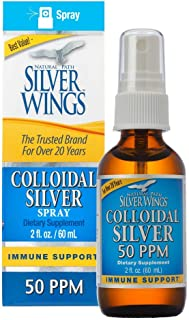 Natural Path Silver Wings Colloidal Silver 50 PPM, 2 Fluid Ounce Spray, Golden Yellow