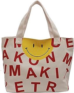 Canvas Large Capacity Single Shoulder Tote Bag Alphabetic Smile Face Holiday Beach Bag Women`s Handbag Shopping Bags