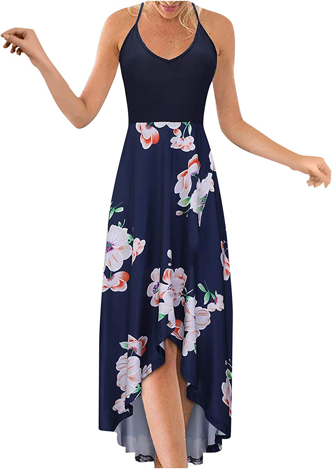 Maxi Dresses For Women,Women's Casual Summer V Neck Sexy Beach Party Maxi Dresses Vintage Long Dress