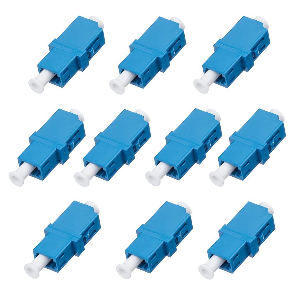 10-Pack LC to LC Simplex Single Mode Coupler, Fiber Optic Adapter for Singlemode Fiber Patch Cable