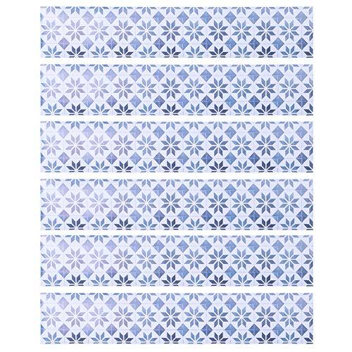DERCLIVE - 6 pegatinas de cerámica para escaleras, decoración de escaleras extraíbles, color azul