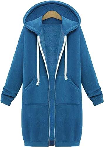 MisShow Damen Warme Kapuzenjacke Hoodiejacke mit Fleecefutter Outwear Basic Casual lang S-5XL