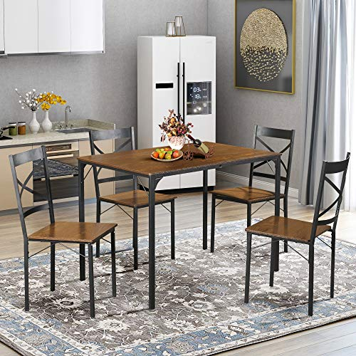 LENTIA 5-Piece Dining Table Set Vintage Table Top Home Kitchen Table with 4 Chairs Metal Dining Room Breakfast Modern Furniture (Espresso)