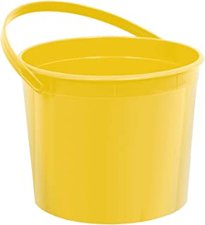 "amscan Plastic Bucket   Yellow Sunshine   Party Accessory, 6.25"" x 4 1/2"""