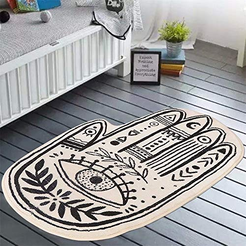 LIVEBOX Play Mat, Faux Wool Kids Area Rug Bohemian Palmistry 3 x5 Carpet Non-Slip Childrens Rugs for Living Room Bedroom Decoration Playroom Nursery Crawling Mat Best Shower Gift (Black and White)