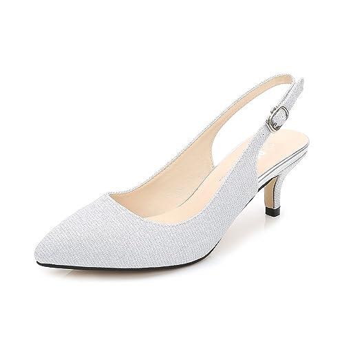 2c716fdb855 OCHENTA Womens Pointed Toe Slingback Dress Court Shoes UK Size 2.5-8