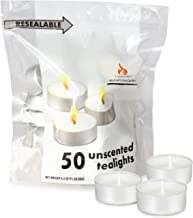 Michael Zohar Candles Unscented Tea Lights Candles | 50 Tealight Candles in A Convenient Resealable Bag | Long Burning, Sm...