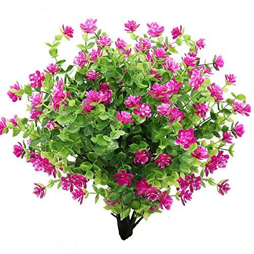 GKONGU Flor Artificial 4 Piezas Ramo de eucalipto Plantas Verdes, Flores Falsas de eucalipto Resistente a los Rayos UV para Interior al Aire Libre hogar Oficina jardín decoración de la Boda (Violeta)