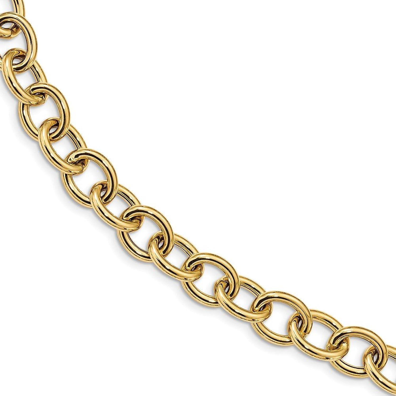 14k Yellow gold Fancy Oval Link Spring Ring Bracelet 7.5inch