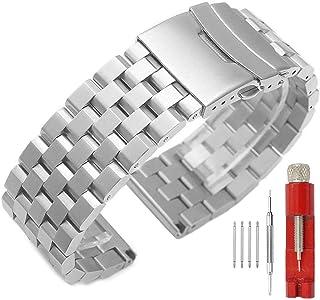 24mm 22mm 20mm 18mm Metal Watch Band Premium Solid Stainless Steel Watch Bracelet Straps for Men Women Blue/Black/Silver