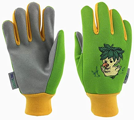 *Children Kids Edition* GREENLINE - Colored Stretch Polyester & Micro Fiber Synthetic Leather Palm Garden Gloves Gardening Gloves Working Gloves Funny Ducking Embroidery On Back (Lime/Light Khaki)