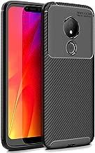 FINON Carbon Design Model [ TPU ] for Motorola Moto G7 Power Case - Fingerprint Prevention Function and Lightweight Soft case, Shock Resistance, Easy desorption, Stylish Design - Black