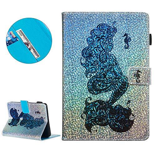DasKAn Klappbar Leder Brieftasche Hülle für Amazon Kindle Paperwhite 1234, Glänzend 3D Bunt Muster Folio Magnetisch Flip Case Tablet Tasche mit Kartenfach Standfunktion Schutzhülle,Meerjungfrau