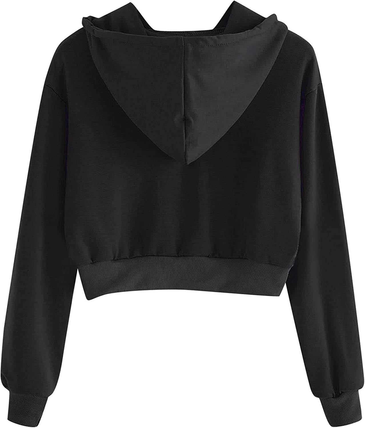 TAYBAGH Crop Hoodies for Women Trendy Casual Solid Long Sleeve Crop Tops Pullover Drawstring Sweatshirts for Teen Girls