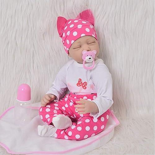 UBTY Handgemachte Baby Doll Weißem Silikon Vinyl Magnetisch Mund Reborn Babypuppen Geschlossene Augen mädchen 22 Zoll 55cm