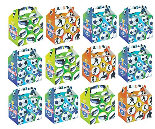 KINPARTY ® - CAJITAS de FUTBOL (Pack de 12) para regalos, para cumpleaños, para fiestas de Fútbol, para golosinas, para niñas y niños