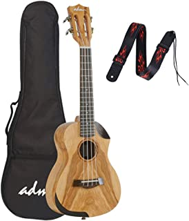 ADMConcert Ukulele 23 Inch for Beginners Professionals Willow Wood With Strap, Gig Bag