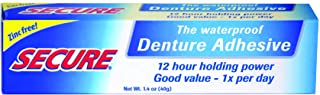 Best Secure Waterproof Denture Adhesive - Zinc Free - Extra Strong Hold For Upper, Lower or Partials - 1.4 oz Review