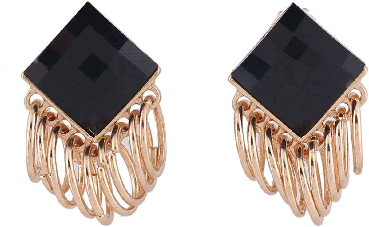 Grace Jun Gold Plated Square Crystal Cricle Clip on Earrings No