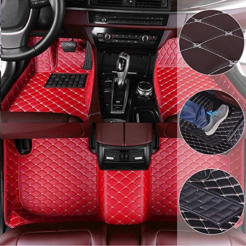 Car Floor Mats for Hummer H2 2003-2007 Custom Leather mat Full Surrounded Cargo Liner All Weather Protection Waterpoof Non-Slip Set Left Drive Red