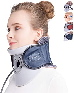 LEAMAI Standard Cervical Neck Traction Device - Adjustable Neck Stretcher Collar for Home Traction Spine Alignment -(C02,Blue)