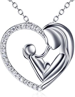 925 Sterling Silver Mother Child Forever Love Heart Pendant Necklace for Mom Grandma