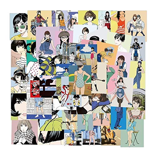 LVLUO Clásico Vintage Chica Joven ilustración Pegatina PVC Dibujos Animados Anime Pegatina calcomanía DIY Guitarra Maleta Nevera Taza 50 Uds
