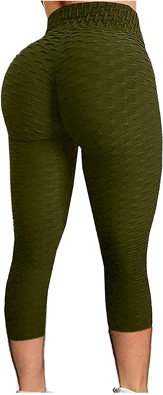 Loneflash Ladies Hip Lifting Pants Bubble Yoga Cropped Pants Hip Lift Fitness Running High Waist