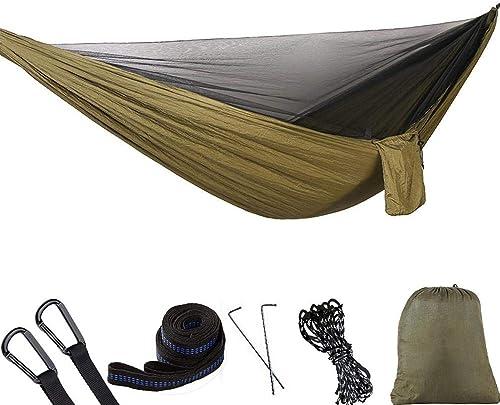 ZHAS Hamac de Camping Simple et Double avec Sangle d'arbre de hamac 260  140cm portable Parachute de Voyage en Nylon hamac Sac à Dos