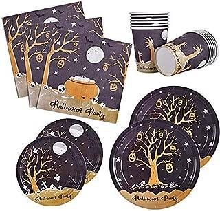 120 PCS Halloween Party Supplies Disposable Dinnerware Set Dinner Paper Plates Napkins Cups Black Yellow Decoration, Serves 24