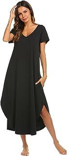 Best Nightgowns Womens V Neck Loungewear Short Sleeve Sleepwear Plus Size Night Wear S-XXL Review
