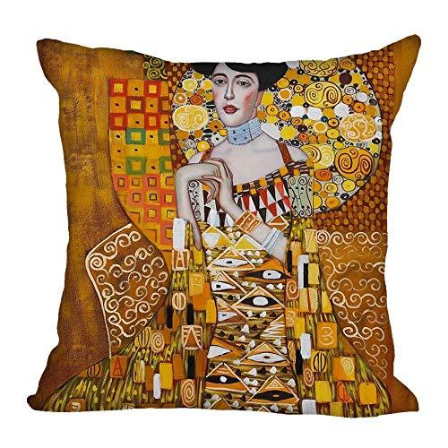Zodiark Jewellery Ritratto di Adele Bloch-Bauer Gustav Klimt - Federa per cuscino per pittura a olio, 45 x 45 cm