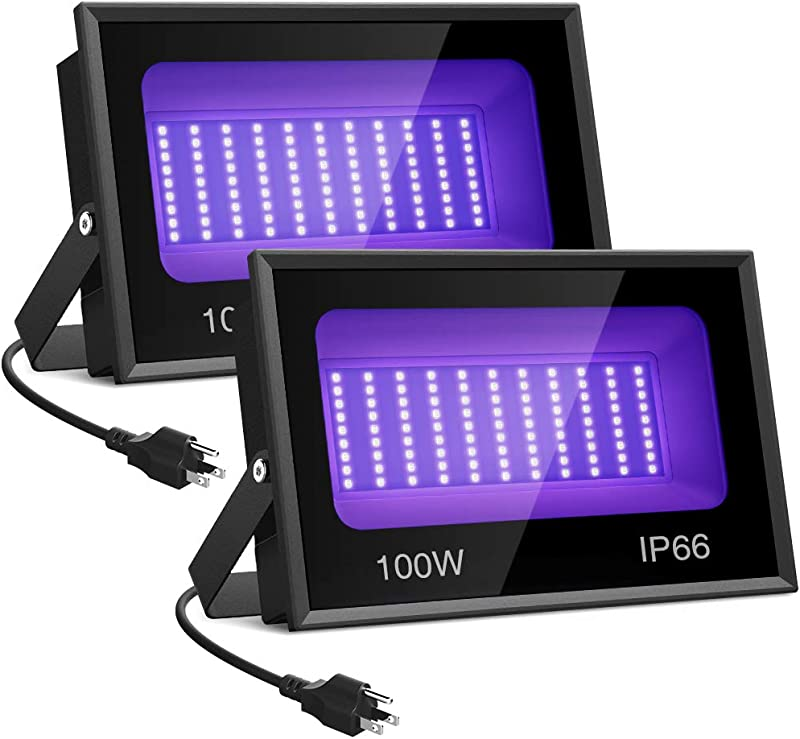 Onforu 2 Pack 100W UV LED Black Light Ultraviolet Outdoor Flood Light IP66 Waterproof With Plug For Dance Party Stage Lighting Body Paint Aquarium