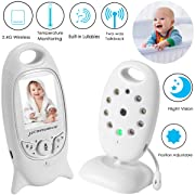 Video Baby Monitor Wireless Camera+2 Way Talk Back Audio+Night Vision+Temperature Sensor+8 Lullaby+2  LCD Screen+Baby Pet Surveillance Monitor Audio for Home Security, No WiFi Needed