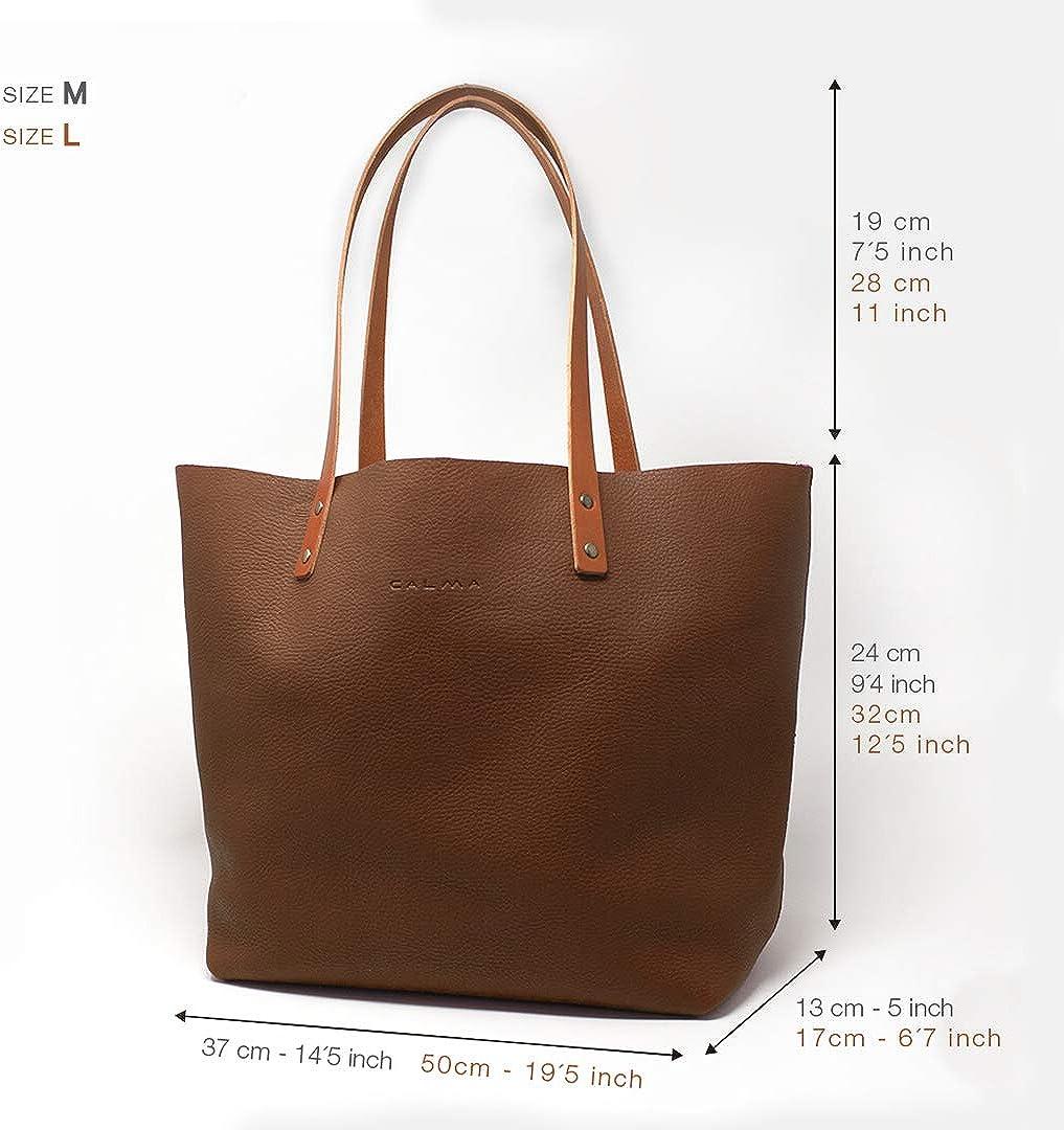 CP CALMA PROJECT - Tote Bag BEL | Sac à main pour femme, sac à main en cuir 100% fait main avec fermeture éclair et bandoulière, poche intérieure et porte-clés Bright Blue