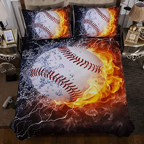 KELITINAus - Juego de cama 3D, juego de funda de edredón, juego de colcha de edredón, funda de edredón, edredón de algodón, funda de béisbol, cama individual, de KELITINAus