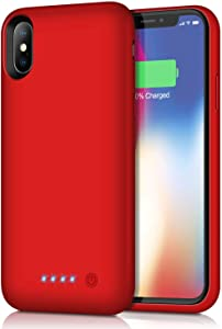 Battery Case for iPhone XS/X/10, Rechargeable 6500mAh Portable Charging Case Extended Battery Pack Cover Charger Case for iPhone Xs/X[5.8 inch]-Red