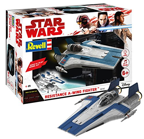 Revell Build & Play - Star Wars Resistance A-wing Fighter in blau - 06762, Maßstab 1:44, originalgetreue Nachbildung mit beweglichen Teilen, mit Light&Sound Effekten, robust zum Spielen