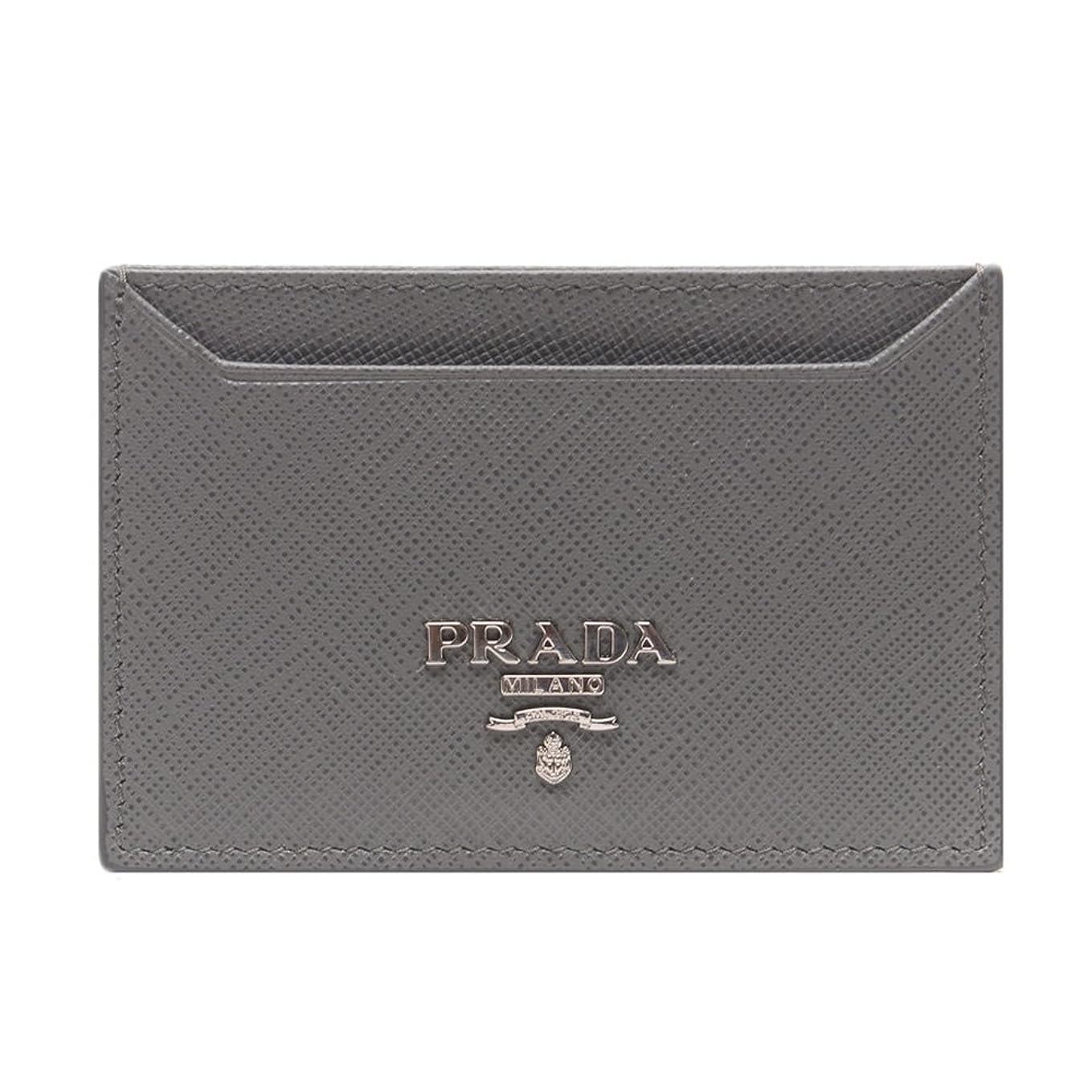 非難する究極の間欠[プラダ PRADA] 男女共用 メタルレタリングロゴ カード財布 GRAY [並行輸入品]