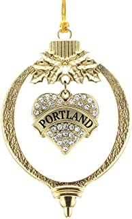Inspired Silver - Portland Charm Ornament - Gold Pave Heart Charm Holiday Ornaments with Cubic Zirconia Jewelry