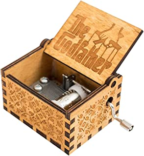 INSHO Antique Carved Hand Cranking Theme The Godfather Mechanism Movement Wood Music Box for Home Decoration,Crafts,Toys,Gifts