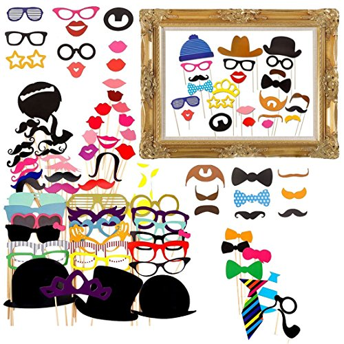 Gudotra 73 Packs 72pcs Set di Accessori di Carta Photo Booth+ 1pz Cornice di Cartaper per Festa Matrimonio Compleanno Natale Battesimo Halloween per Bambini e Adulti