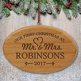 """GiftsForYouNow Engraved Our First Christmas Wood Oval Ornament - Mr & Mrs, 4"""" x 2.5"""""""