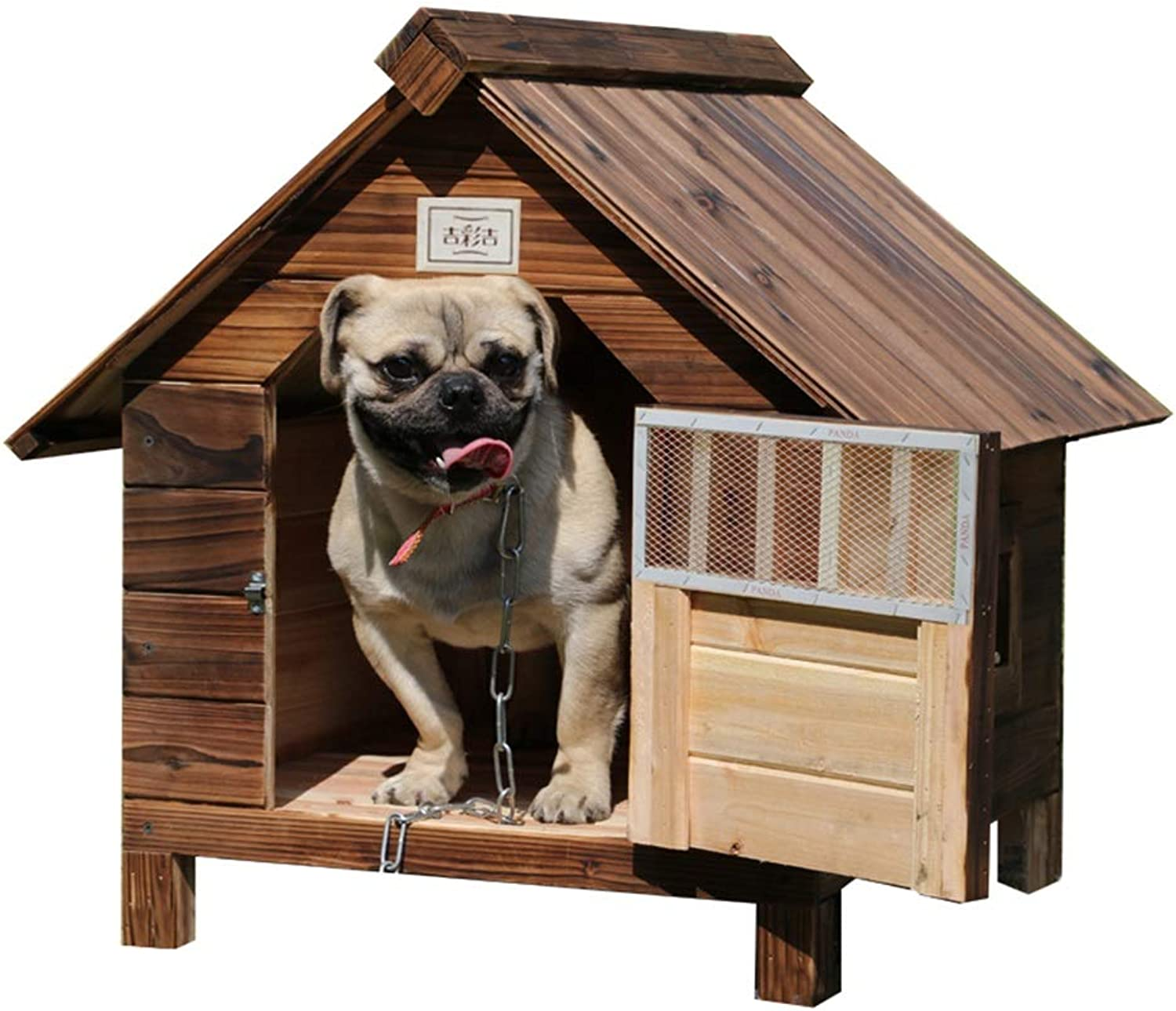 Cages & Pens Pet House Dog House Outdoor Rainproof Solid Wood Dog House Pet Nest Indoor Kennel Kennel Cat Cat House Pet House (color   Brown, Size   56  45  48cm)